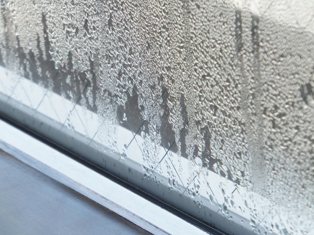 窓の結露の写真です。