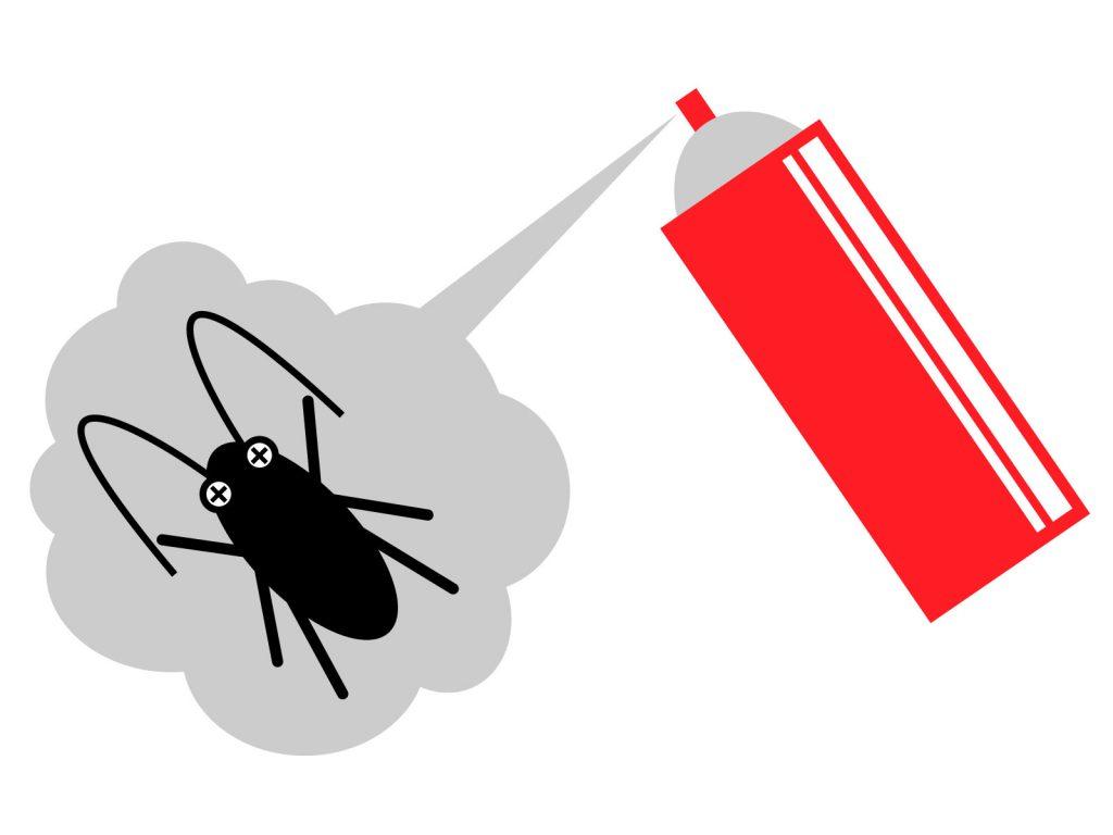 殺虫剤とゴキブリのイラストです
